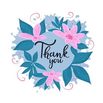 Obrigado letras de mão. quadro de flores de ação de graças.