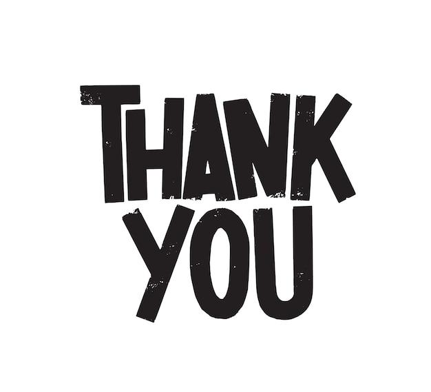Obrigado letras de vetor. frase de gratidão isolada no fundo branco. citação de apreciação escrita com letras de tinta preta. expressão de gratidão, slogan de ação de graças. elemento de design de cartão postal.
