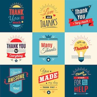 Obrigado lettering conjunto com amor e gratidão em estilo retro isolado ilustração vetorial