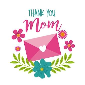 Obrigado mãe mensagem envelope decoração floral