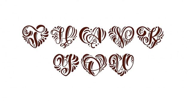 Obrigado manuscrita texto caligráfico em forma de coração.