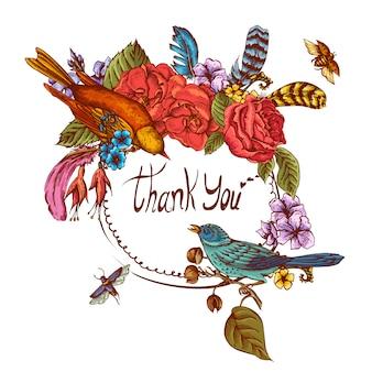 Obrigado mão desenhada cartão de saudação de vetor