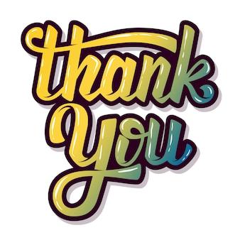 Obrigado. mão desenhada letras frase sobre fundo branco. elemento para cartaz, cartão postal. ilustração