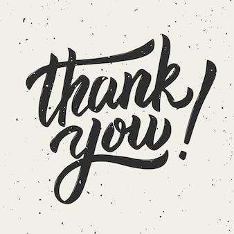 Obrigado! mão desenhada letras frase sobre fundo branco. ilustração