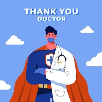 Obrigado médico conceito de super-herói