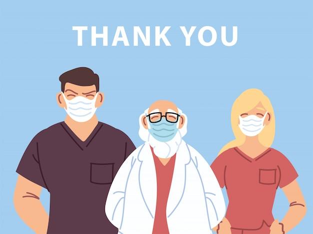 Obrigado médico e enfermeiras e equipe de pessoal médico, no combate ao coronavírus