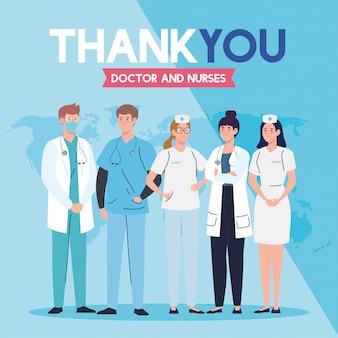 Obrigado médico e enfermeiras que trabalham em hospitais, equipe médica lutando contra o coronavírus covid 19 ilustração design