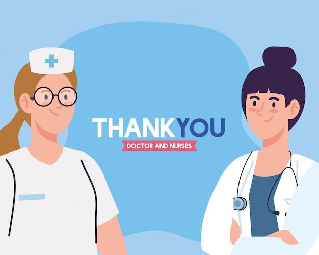 Obrigado médico e enfermeiras que trabalham em hospitais, mulher médica e enfermeira