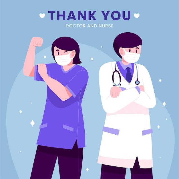 Obrigado médico e enfermeiros conceito