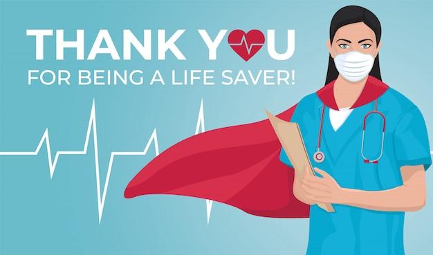 Obrigado médico e enfermeiros e pessoal médico. ilustração. celebração anual nos estados unidos. conceito médico