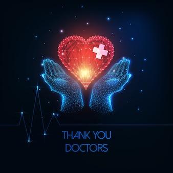 Obrigado, médicos, conceito, com, incandescente, baixo, poligonal, mãos humanas, segurando, coração vermelho