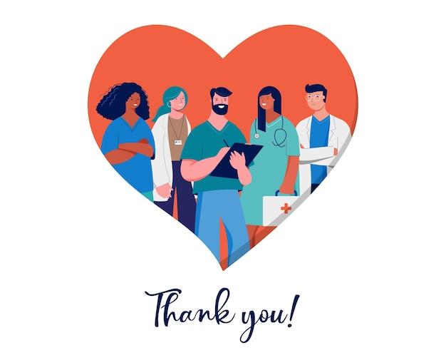 Obrigado, médicos e enfermeiras conceito de design