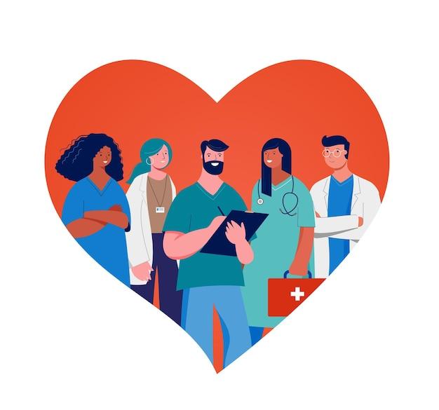 Obrigado, médicos e enfermeiras conceito design - grupo de profissionais médicos em um coração vermelho
