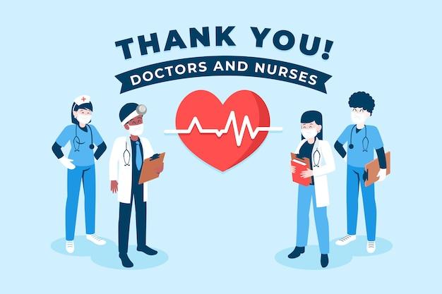 Obrigado, médicos e enfermeiras conceito