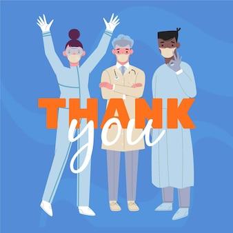 Obrigado médicos e enfermeiras letras