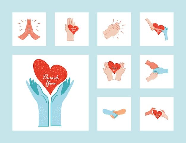 Obrigado, médicos e enfermeiras, mãos com ilustração da coleção de corações