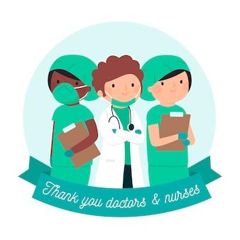 Obrigado médicos e enfermeiros conceito