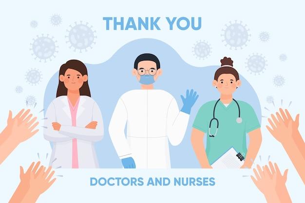 Obrigado médicos e enfermeiros design ilustração