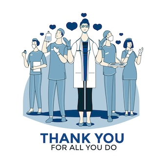 Obrigado médicos e enfermeiros design