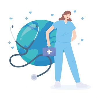 Obrigado médicos e enfermeiros, enfermeira feminina com estetoscópio kit e wold