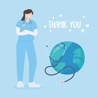 Obrigado médicos e enfermeiros, enfermeira feminina com mundo de diagnóstico de estetoscópio