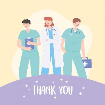 Obrigado médicos e enfermeiros, equipe de pessoal médico com estetoscópio e kit de primeiros socorros