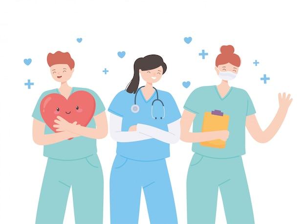 Obrigado médicos e enfermeiros, equipe médica da equipe em máscara protetora com prancheta e estetoscópio
