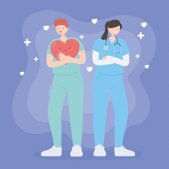 Obrigado médicos e enfermeiros, equipe médica de homem e mulher