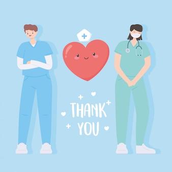 Obrigado médicos e enfermeiros, equipe médica pessoas com desenho de coração