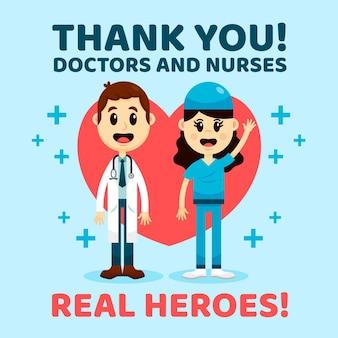 Obrigado médicos e enfermeiros estilo de mensagem de apoio