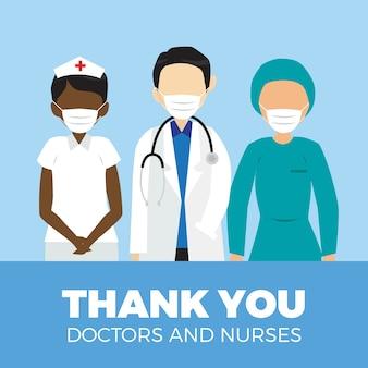 Obrigado médicos e enfermeiros estilo de mensagem