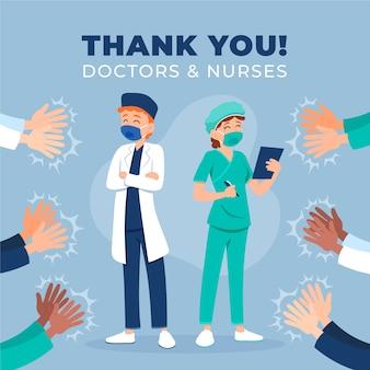 Obrigado médicos e enfermeiros estilo
