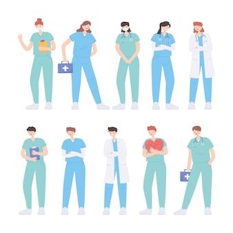 Obrigado médicos e enfermeiros, heróis da linha de frente médicos e enfermeiros personagens