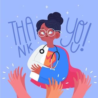 Obrigado médicos e enfermeiros ilustração com letras