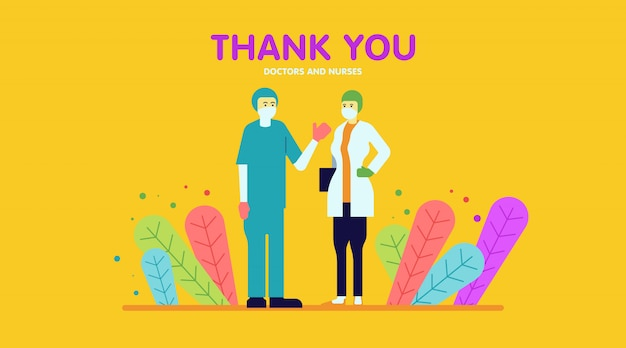 Obrigado médicos e enfermeiros ilustração