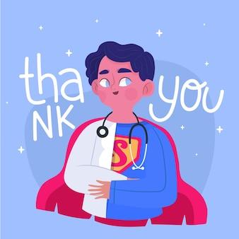 Obrigado médicos e enfermeiros ilustrados