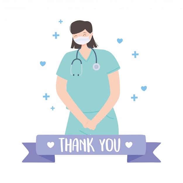 Obrigado médicos e enfermeiros, médica com máscara médica e estetoscópio