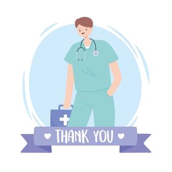 Obrigado médicos e enfermeiros, médico com estetoscópio e kit de primeiros socorros