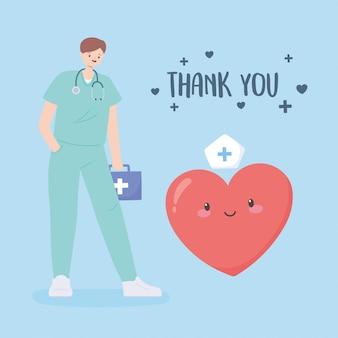 Obrigado médicos e enfermeiros, médico com kit de primeiros socorros e coração dos desenhos animados
