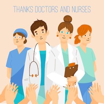 Obrigado médicos e enfermeiros por sua ajuda
