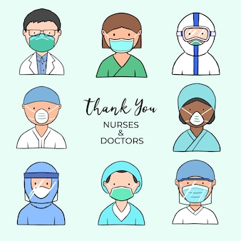 Obrigado médicos e enfermeiros tema ilustrado