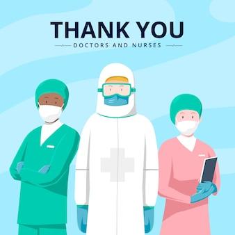 Obrigado médicos e enfermeiros