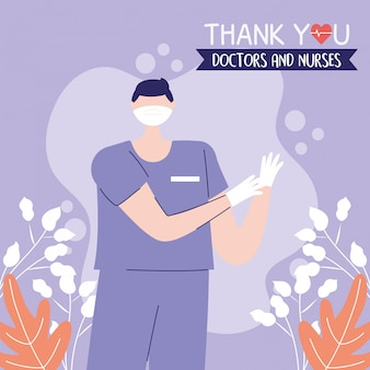 Obrigado, médicos, enfermeiros, enfermeiro profissional com máscara e luvas médicas