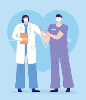 Obrigado, médicos, enfermeiros, médica e enfermeira com máscara protetora médica
