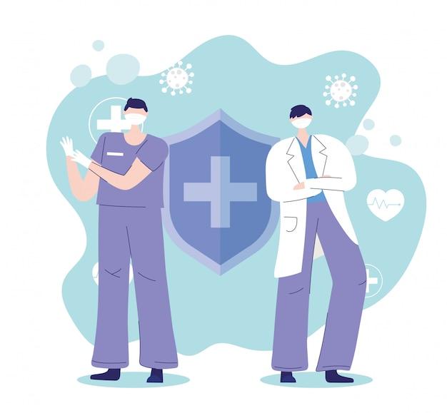 Obrigado, médicos, enfermeiros, médicos com proteção de máscara médica