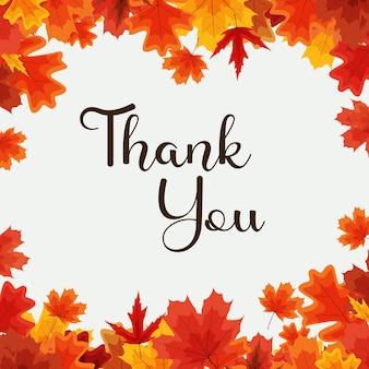 Obrigado, modelo de fundo natural de outono com folhas caindo