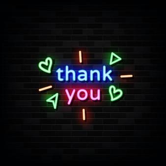 Obrigado modelo de sinais de néon estilo néon