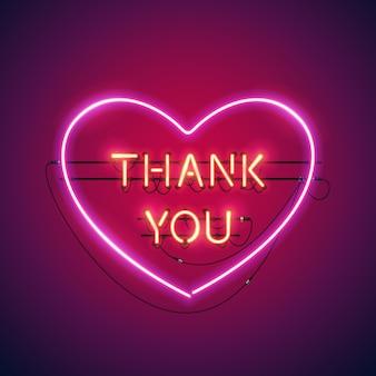 Obrigado no coração neon sign