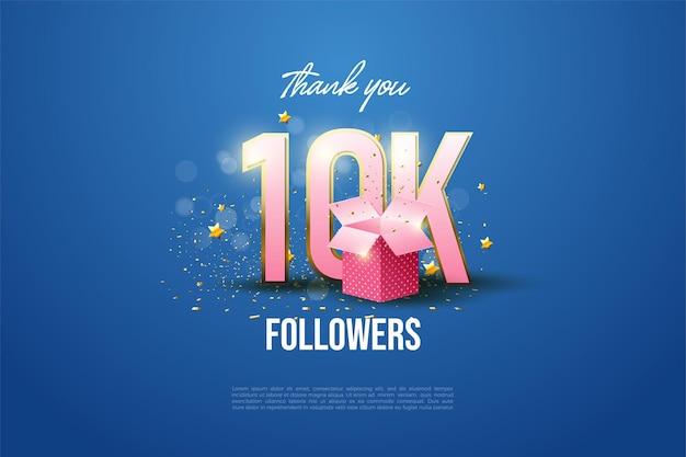 Obrigado pelo fundo de 10 mil seguidores com números listrados de ouro nas bordas e caixas de presente