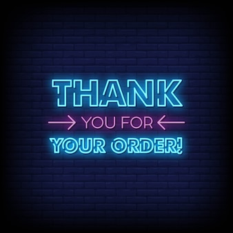 Obrigado pelo seu pedido de tabuleta de néon na parede de tijolo